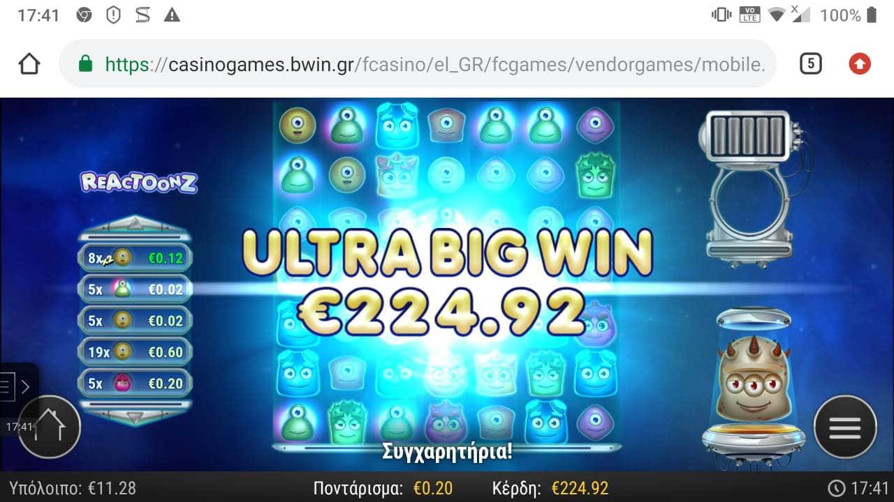 Reactoonz Bigwin pictures HAYATEARMY8 29.3.2020 224.92e 1125X