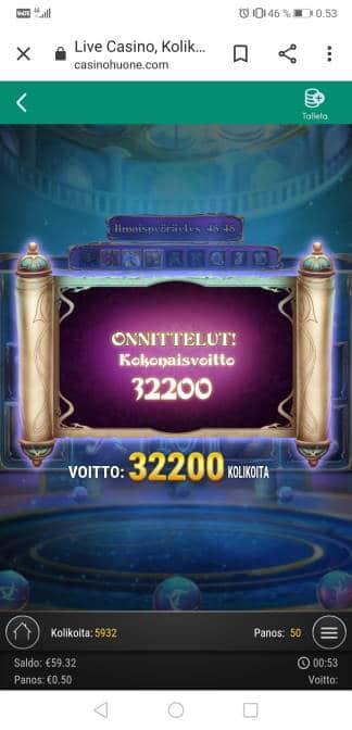 Rise of Merlin Big win picture by Jojelini 2.3.2020 322e 644X Casino Huone