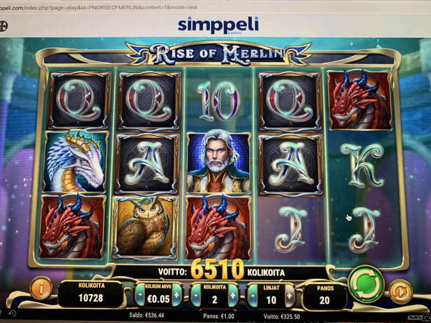 Rise of Merlin Big win picture by vesselis 15.2.2020 325.50e 326X Simppeli