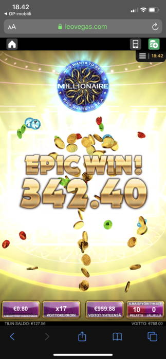 Who Wants to be a Millionaire Big win picture by vesselis 19.3.2020 342.40e 428X Leo Vegas
