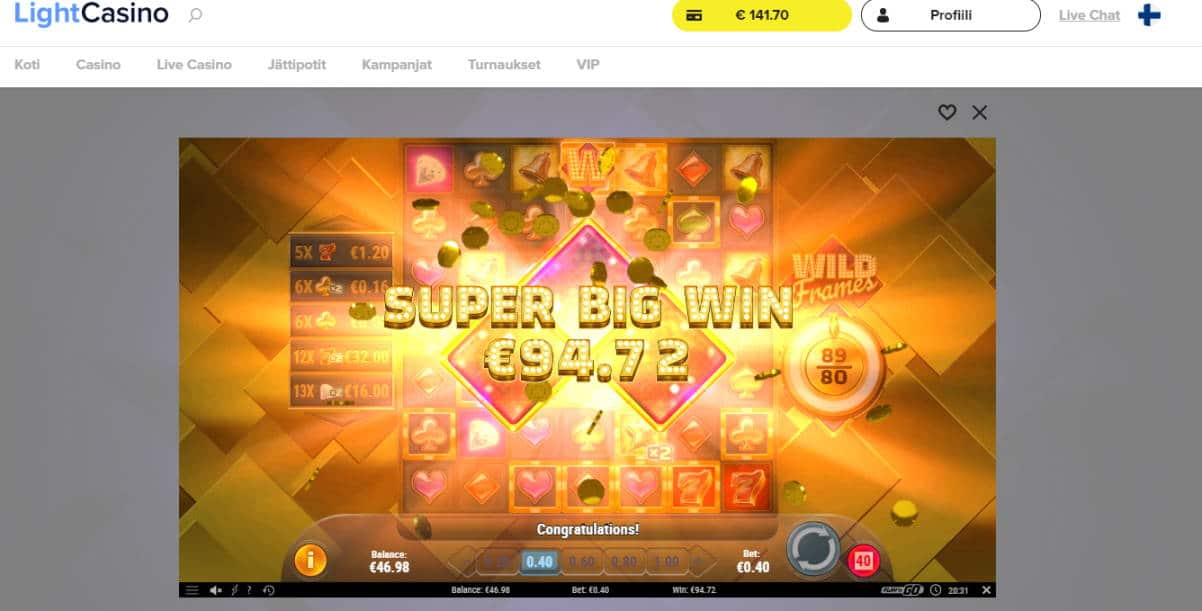 Wild Frames Big win picture by Banhamm 15.2.2020 94.72e 237X Light Casino