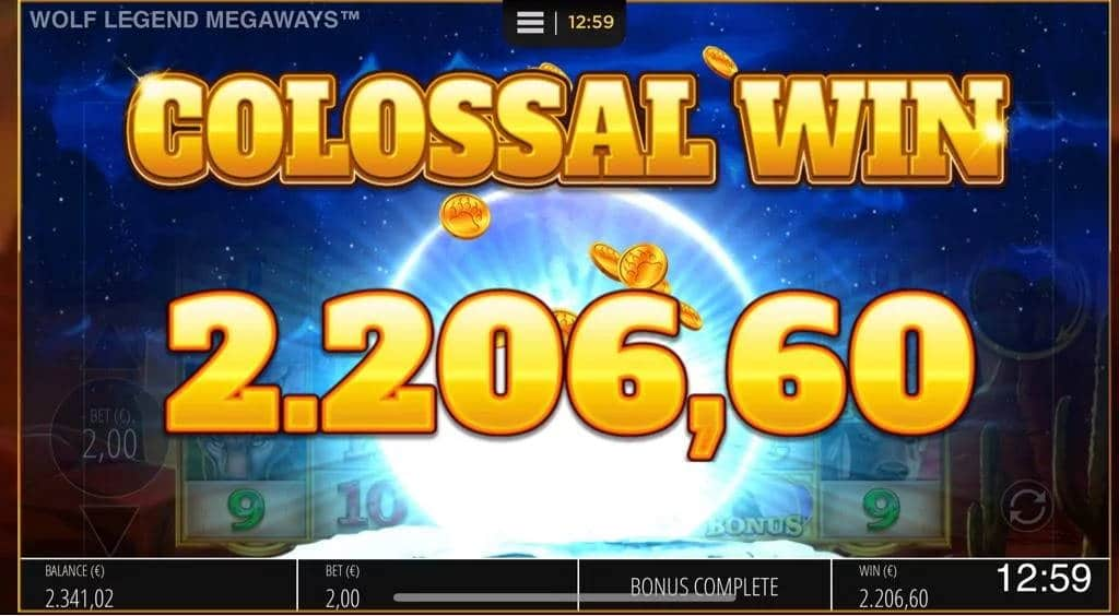 Wolf Legend Megaways Casino win picture by Jaakko11 30.3.2020 2206.60e 1103X