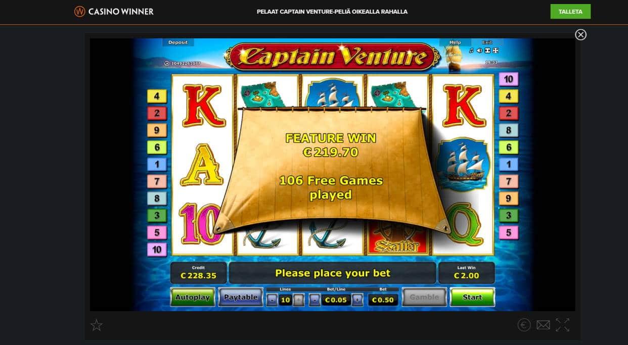 Captain Venture Casino win picture by Banhamm 1.4.2020 219.70e 439X Casino Winner