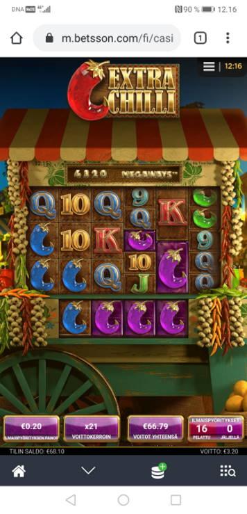 Extra Chilli Casino win picture by Hookos 15.4.2020 66.79e 334X Betsson