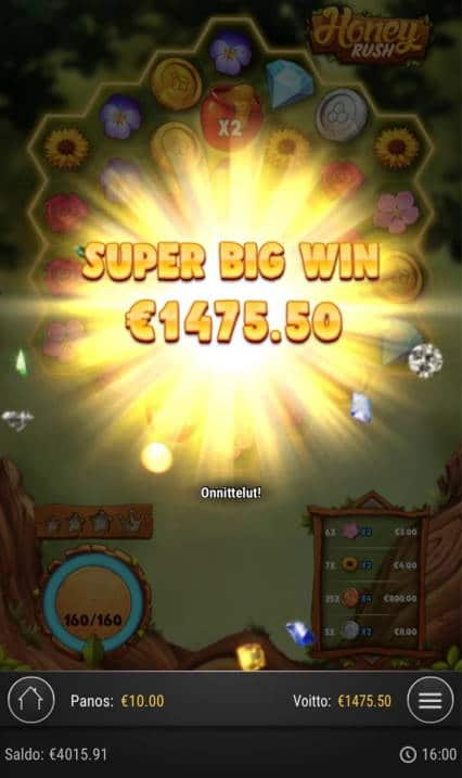 Honey Rush Casino win picture by Jaakko11 20.4.2020 1475.50e 148X