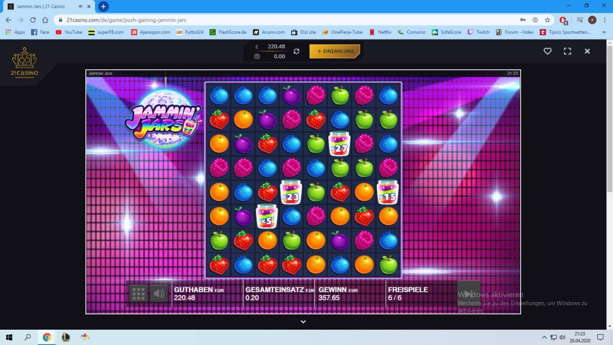 Jamming Jars Casino win picture by x3n81 27.4.2020 357.65e 1788X 21 Casino