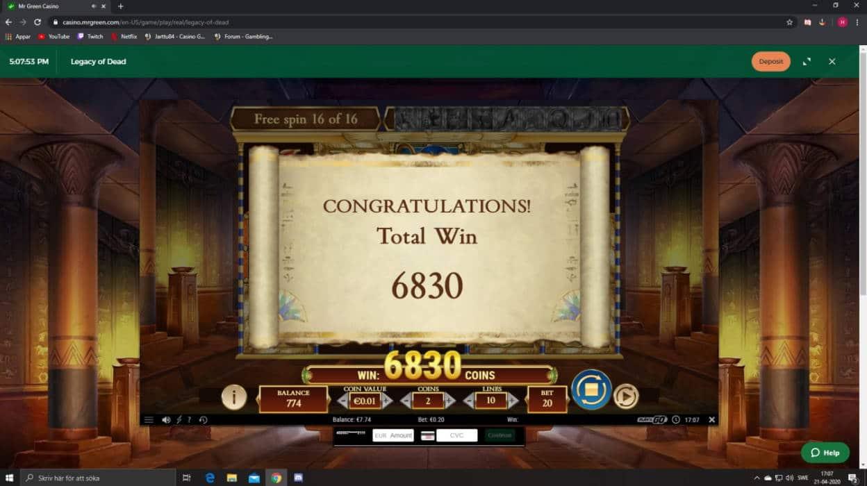 Legacy of Dead Casino win picture by Henkka1986 20.4.2020 68.30e 342X MrGreen
