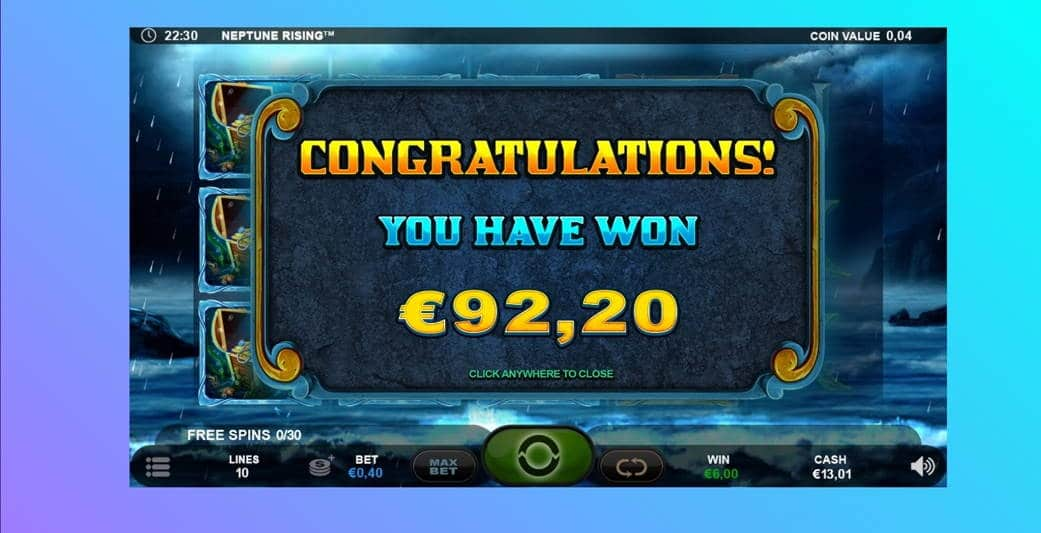 Neptune Rising Casino win picture by Hell of a player 19.4.2020 92.20e 231X Wildz