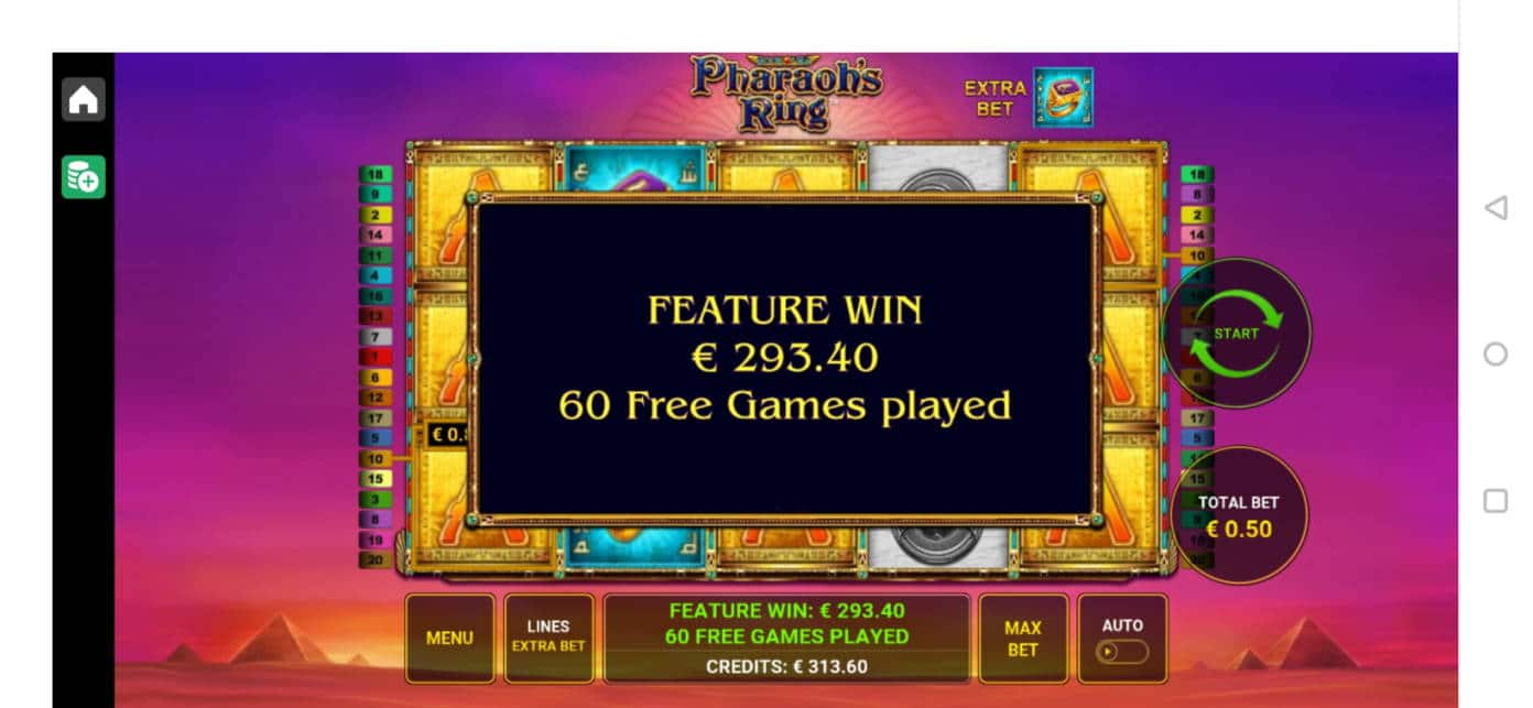 Pharaohs Ring Casino win picture by Salatheel 24.4.2020 293.40e 587X