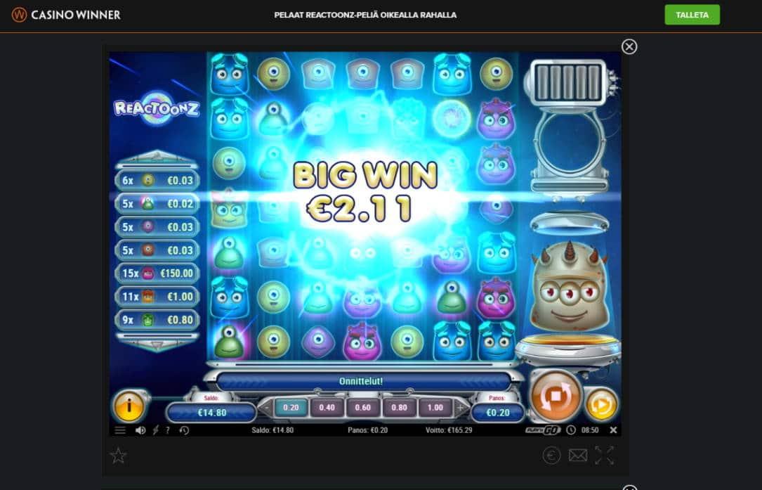 Reactoonz Casino win picture by Banhamm 23.4.2020 165.29e 826X Casino Winner