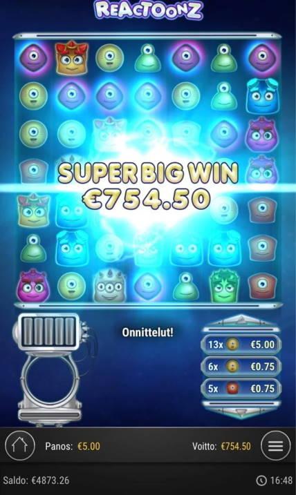 Reactoonz Casino win picture by Jaakko11 20.4.2020 754.50 151X