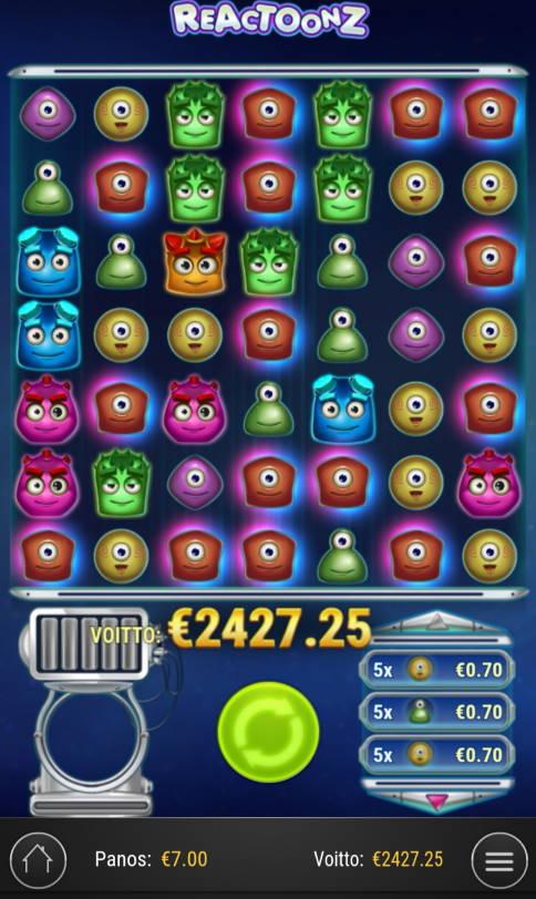 Reactoonz Casino win picture by Jyrkkenkloppi 20.4.2020 2427.25e 347X