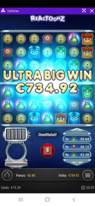 Reactoonz Casino win picture by Kaffeblörö 9.4.2020 734.92e 919X