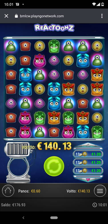 Reactoonz Casino win picture by LomaFin 20.4.2020 140.13e 234X