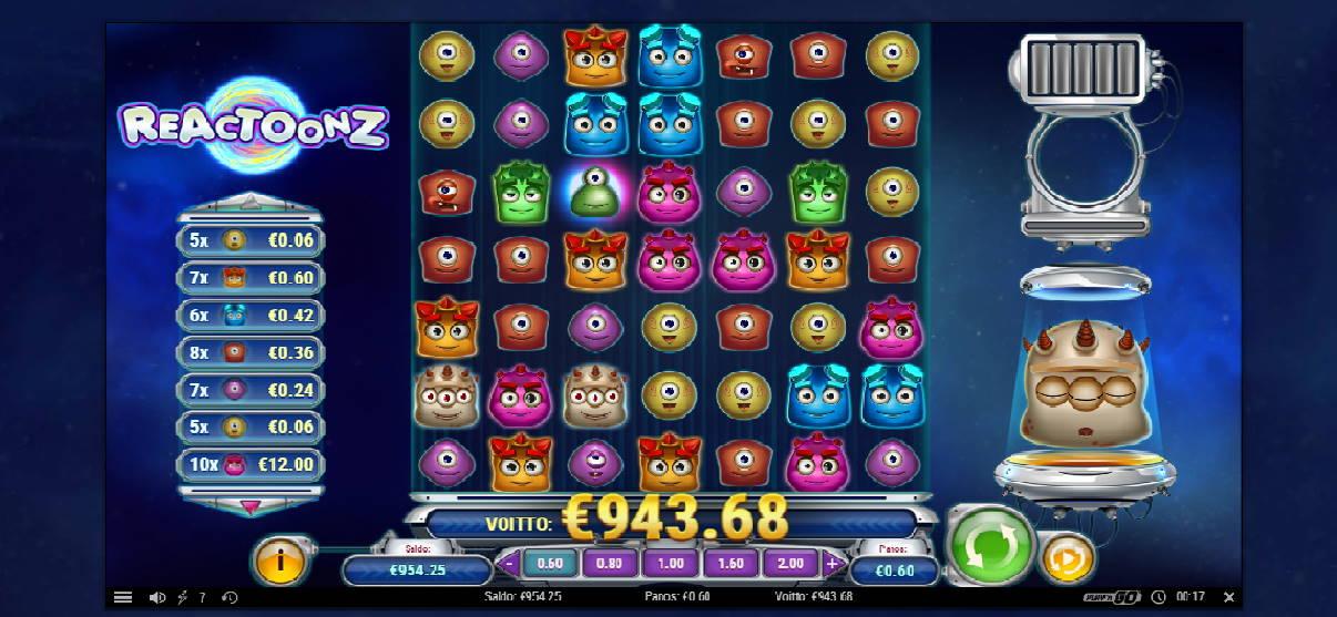 Reactoonz Casino win picture by Weeta 4.1.2020 943.68e 1573X