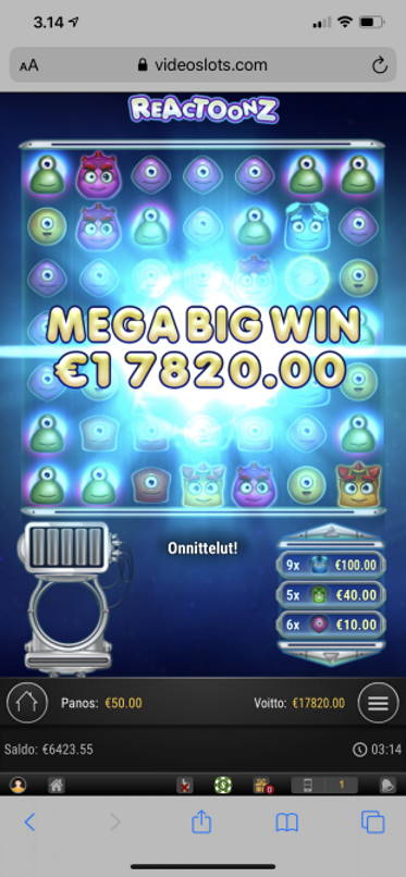 Reactoonz Casino win picture by aki_2772 2.4.2020 17820e 356X