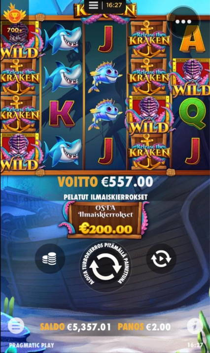 Release the Kraken Casino win picture by Jaakko11 20.4.2020 557e 279X