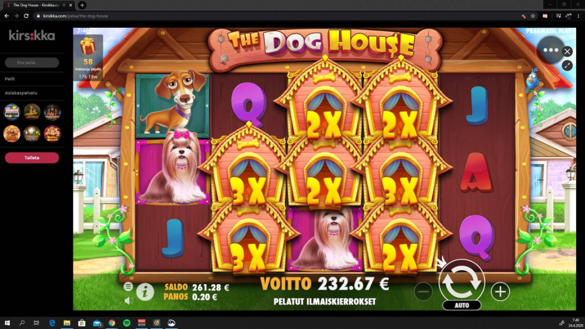 The Dog House Casino win picture by jiipee 23.4.2020 232.67e 1163X Kirsikka