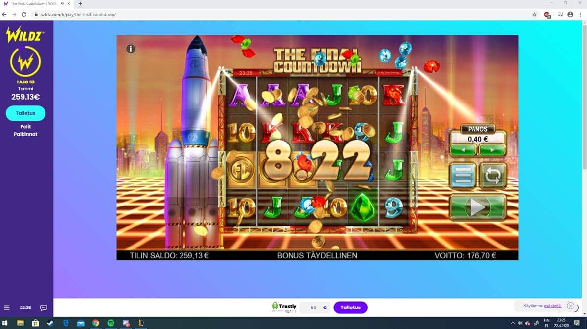 The Final Countdown Casino win picture by Hell of a player 22.4.2020 176.70e 442X Wildz
