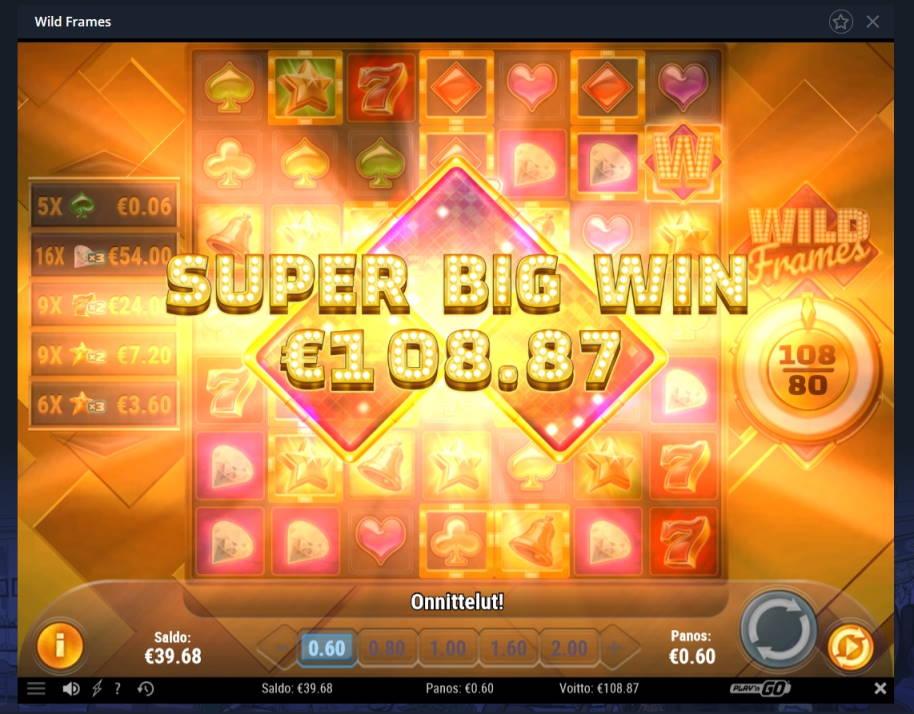 Wild Frames Casino win picture by Mrmork666 17.4.2020 108.87e 181X VulkanVegas