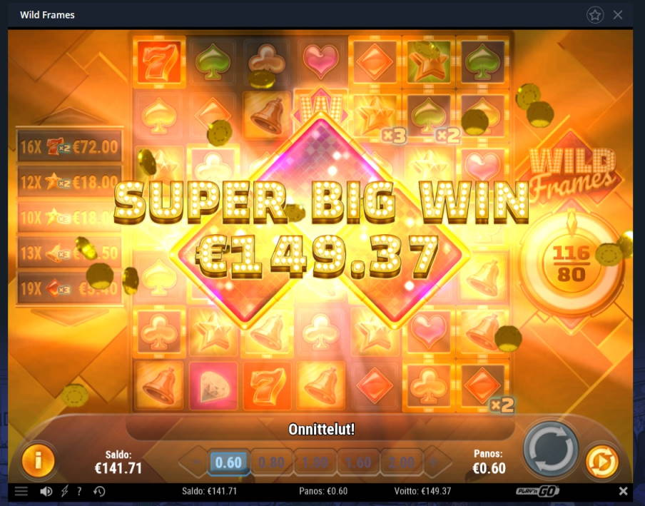 Wild Frames Casino win picture by Mrmork666 17.4.2020 149.37e 249X VulkanVegas