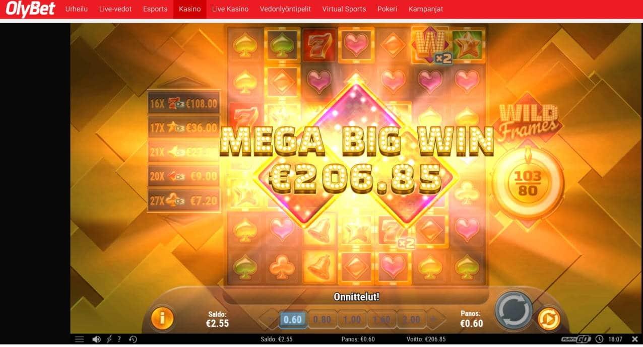 Wild Frames Casino win picture by Mrmork666 8.4.2020 206.85e 345X OlyBet