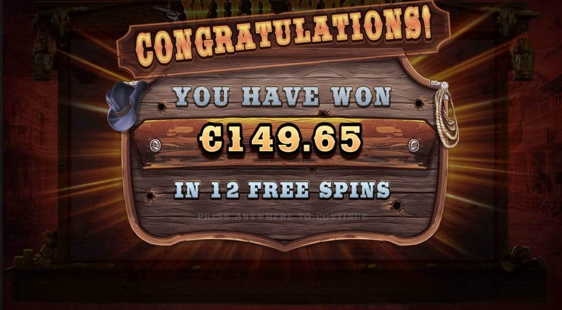 Wild West Gold Casino win picture by Kari Grandi 29.4.2020 149.65e