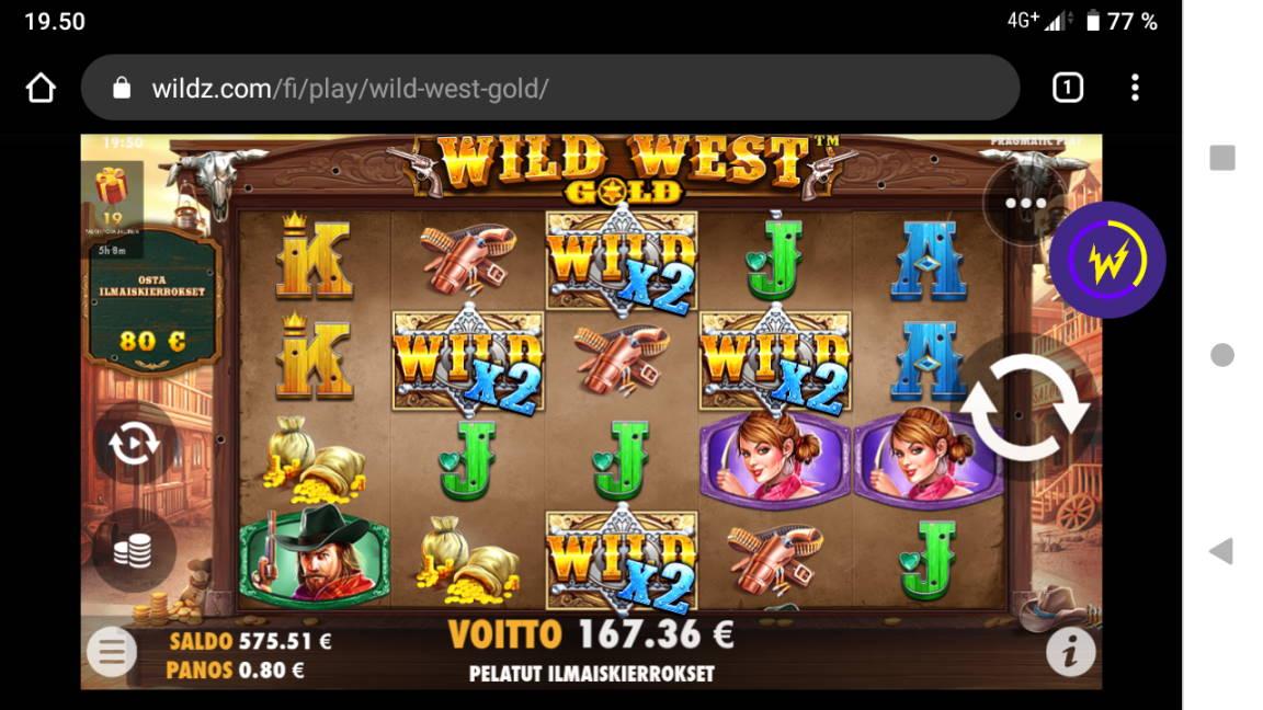 Wild West Gold Casino win picture by tiikerililja87 25.4.2020 167.36e 209X Wildz