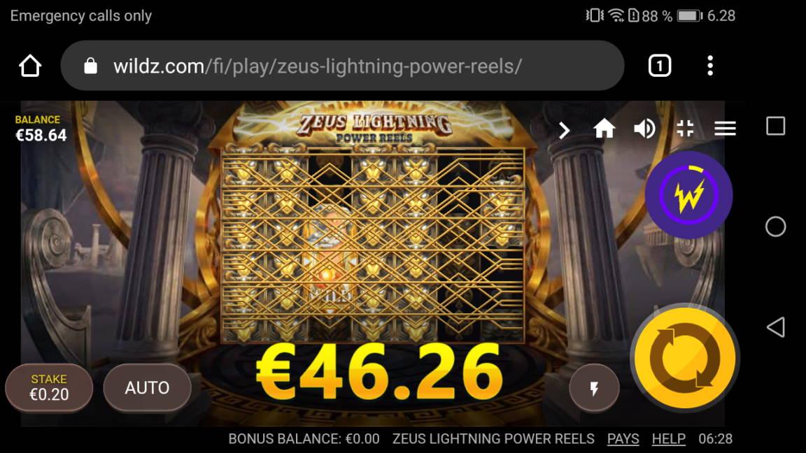 Zeus Lightning Power Reels Casino win picture by Banhamm 23.4.2020 46.26e 231X Wildz