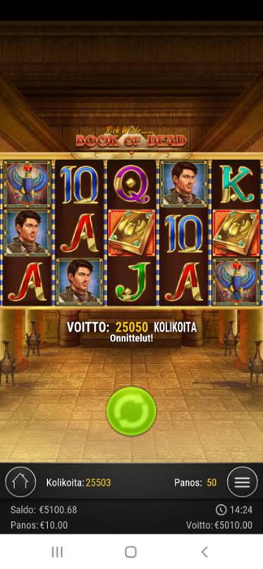 Book of Dead Casino win picture by Kaffeblörö 14.5.2020 5010e 501X