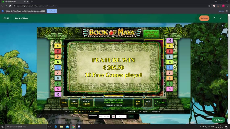 Book of Maya Casino win picture by Henkka1986 6.5.2020 205.50e 1028X MrGreen