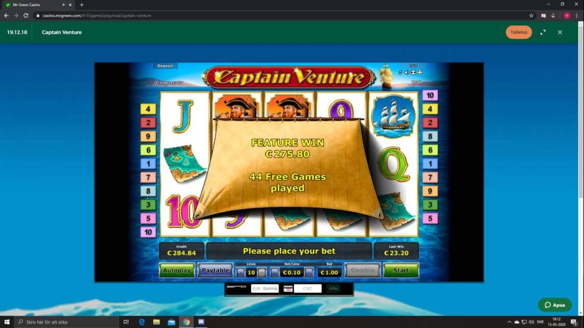Captain Venture Casino win picture by Henkka1986 15.5.2020 275.80e 276X MrGreen