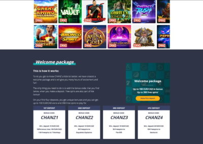 Chanz Casino Welcome Package