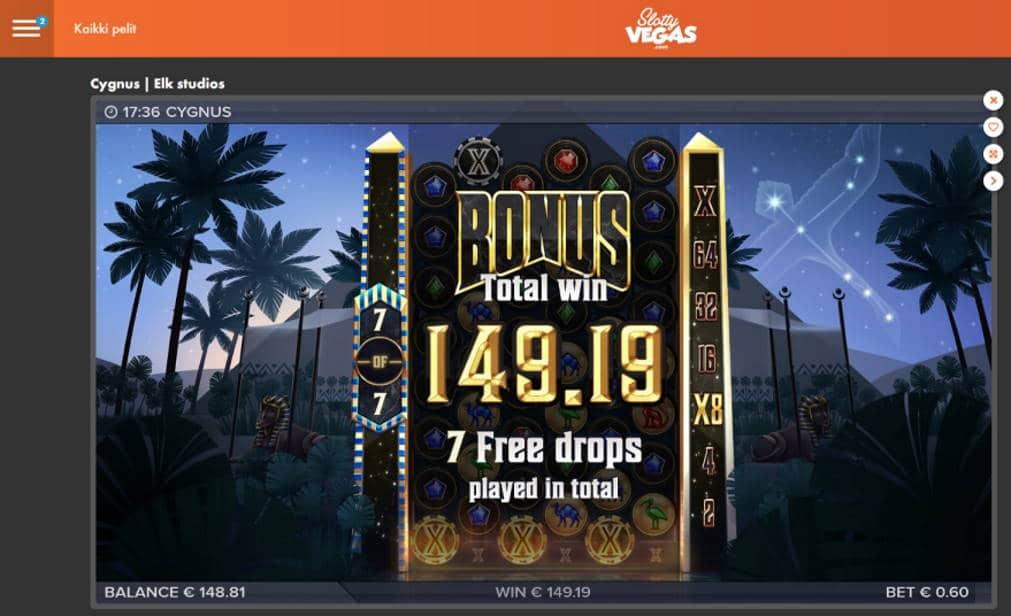 Cygnus Casino win picture by Mrmork666 4.5.2020 149.19e 249X Slotty Vegas