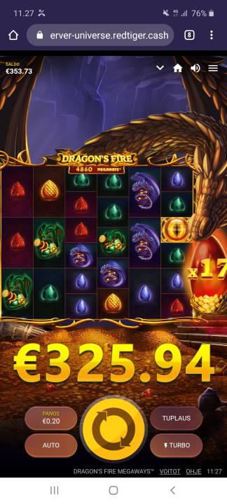 Dragons Fire Megaways Casino win picture by holari993 4.5.2020 325.94e 1630X