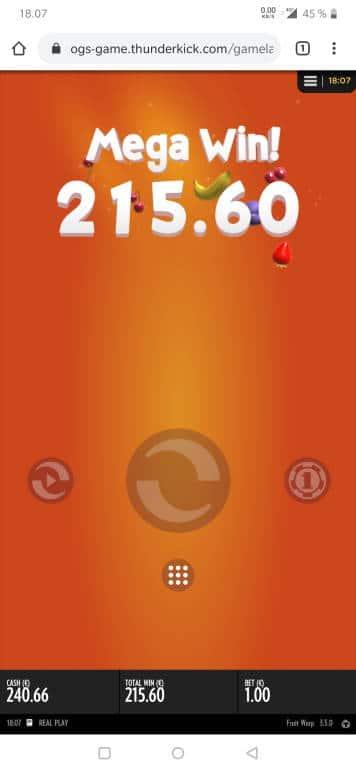 Fruit Warp Casino win picture by Salatheel 28.5.2020 215.60e 216X