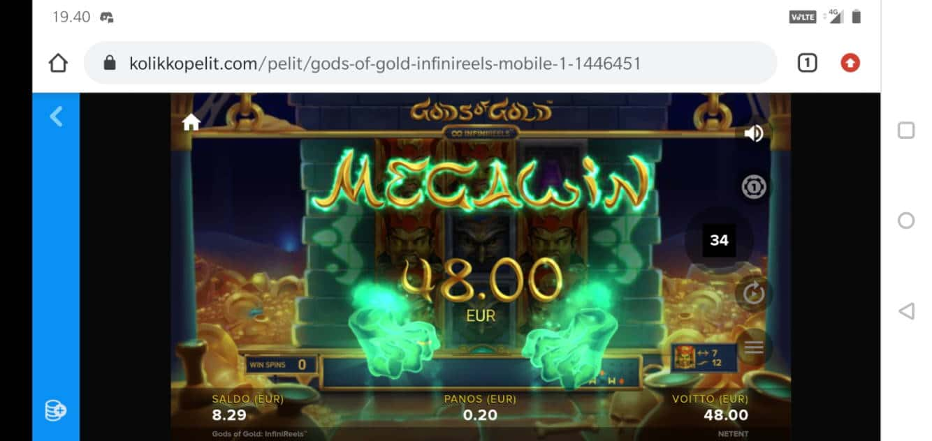 Gods of Gold Casino win picture by MikoTiko 16.5.2020 48e 240X Kolikkopelit