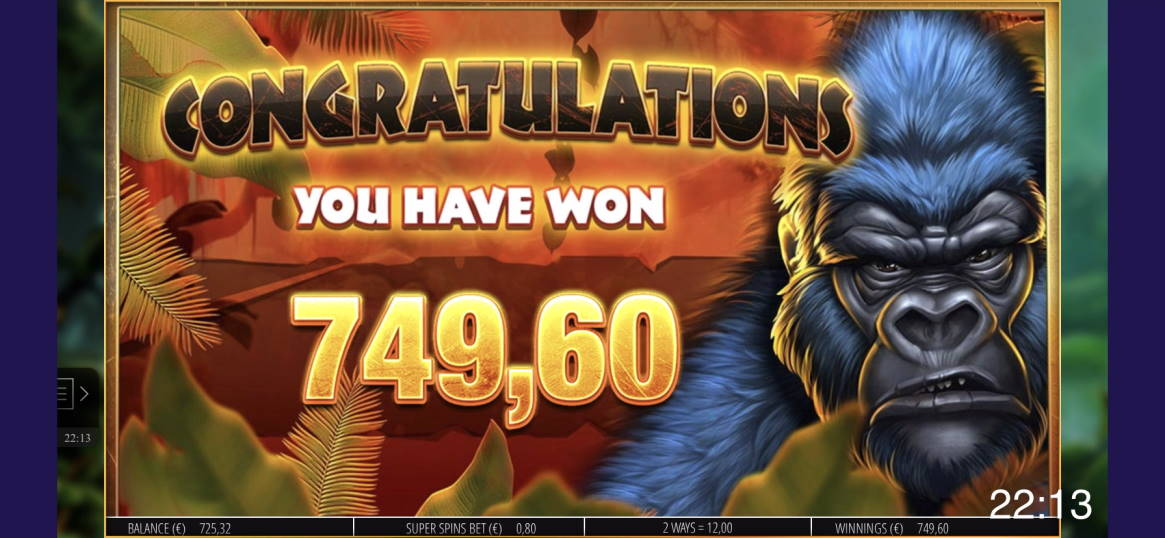 Gorilla Gold Megaways Casino win picture by livewithoutlimits1986 3.5.2020 749.60e 937X
