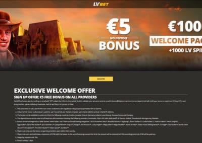 LvBet Casino Landing Page