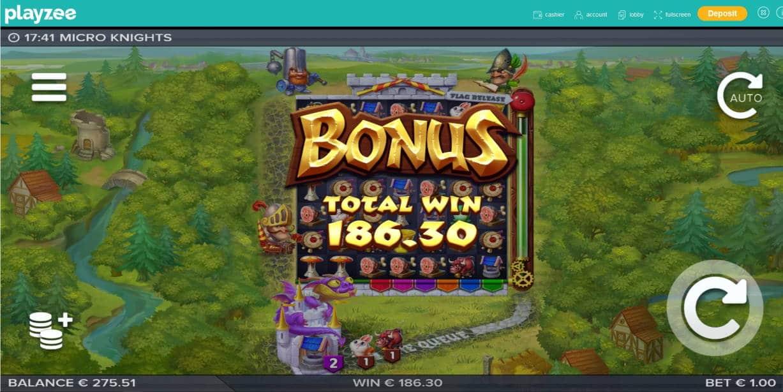 Micro Knights Casino win picture by Mrmork666 7.5.2020 186.30e 186X Playzee