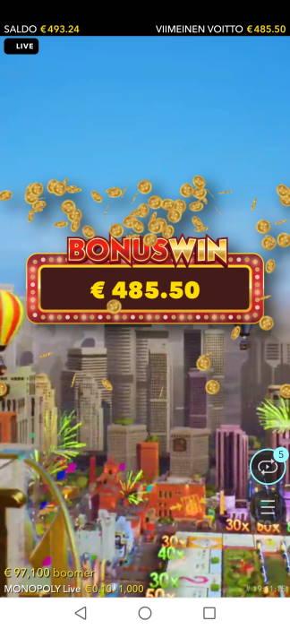 Monopoly Live Casino win picture by SJaN 30.4.2020 485.50e 971X