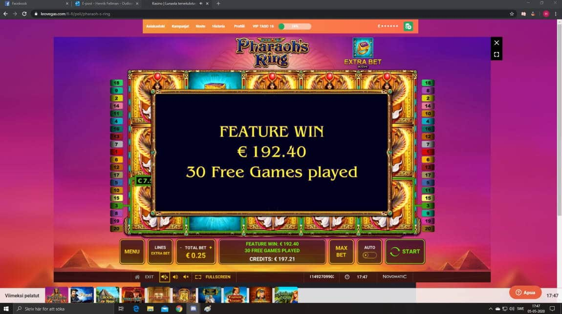 Pharaos Ring Casino win picture by Henkka1986 5.5.2020 192.40e 770X LeoVegas