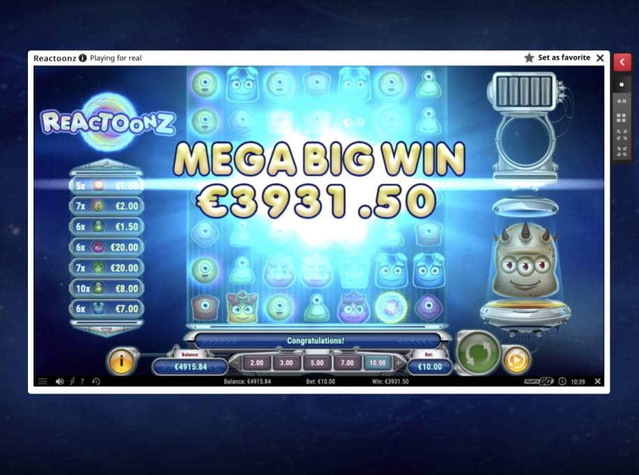 Reactoonz Casino win picture by Pottijussi 22.5.2020 3931.50e 393X