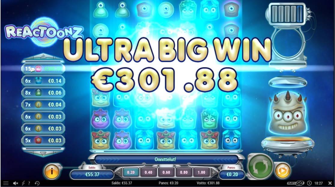 Reactoonz Casino win picture by fujilwyn 4.5.2020 301.88e 1509X