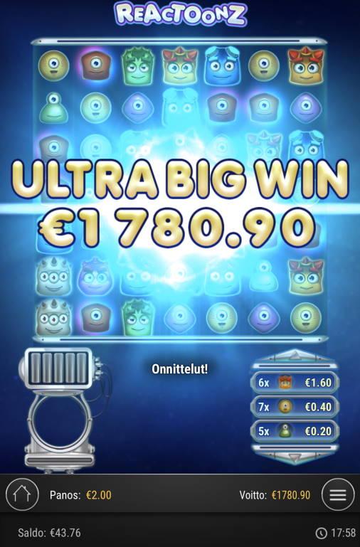 Reactoonz Casino win picture by sonefinland 20.5.2020 1780.90e 890X