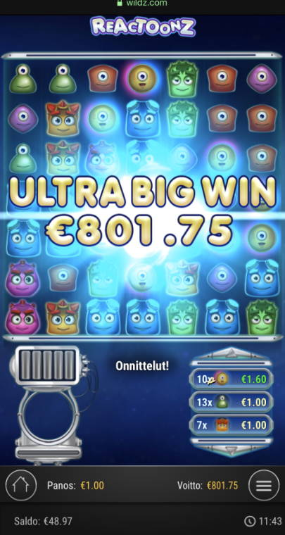 Reactoonz Casino win picture by sonefinland 21.5.2020 801.75e 802X Wildz