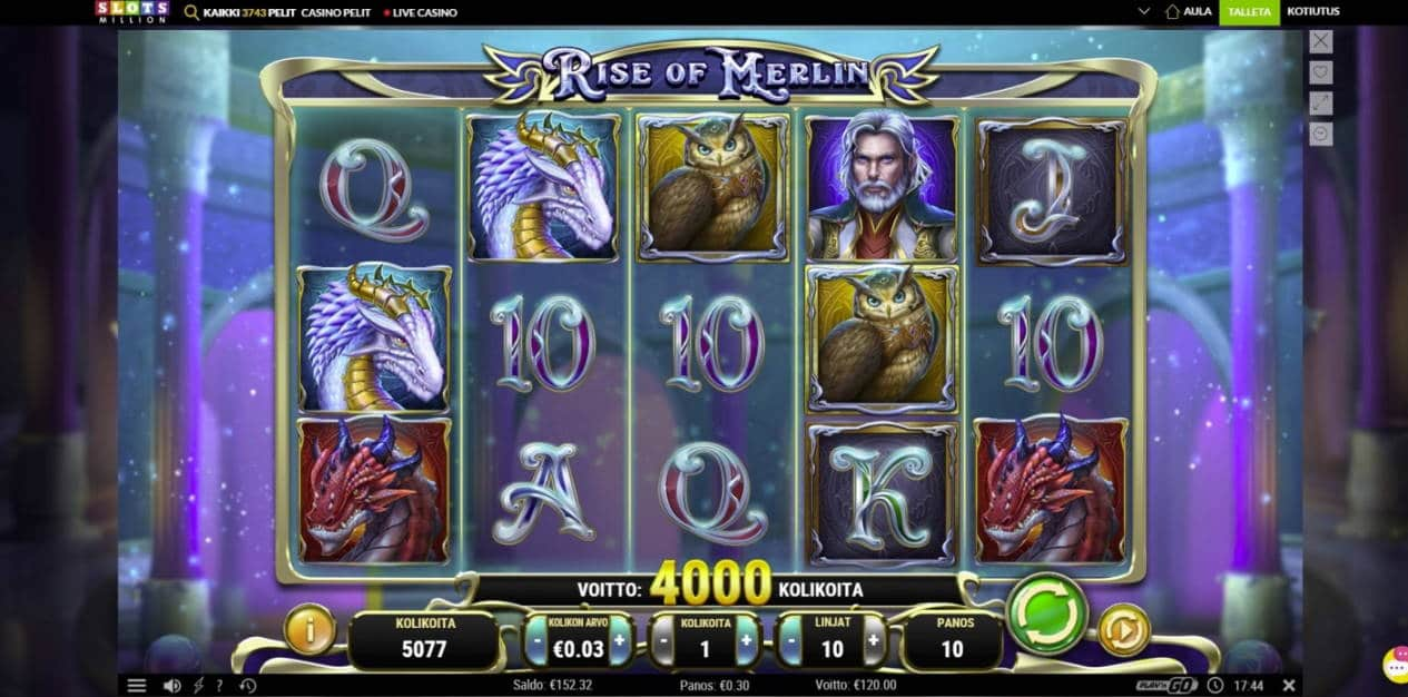 Rise of Merlin Casino win picture by houseri 26.5.2020 120e 400X Slots Million