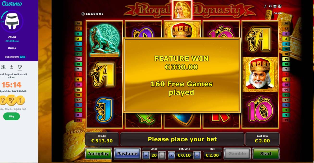Royal Dynasty Casino win picture by Klaspetterniklas 24.5.2020 330e 165X Casumo
