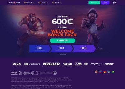 VulkanBet Casino Landing Page