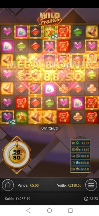 Wild Frames Casino win picture by jaapero 19.5.2020 2188.50e 438X